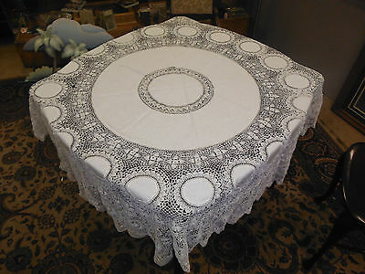 "Antique Round Lace Tablecloth 74"" Diameter"