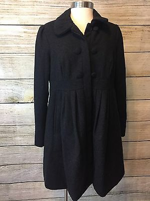 Liz Lange Maternity Coat Wool Blend Gray Size S Pea Coat Dress Career