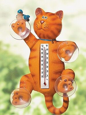 "NEW - 8""H X 4""W Polyresin ""CAT"" Weather Temperature Thermometer - Indoor/Outdoor"