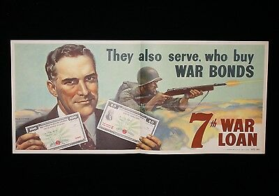 "Authentic 7th War Loan WWII Poster ""They Also Serve Who Buy War Bonds"" 1945"