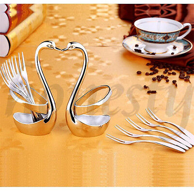 Stainless Steel Home Kitchen Swan Fork Spoon Holder Rests Wedding Party Decor