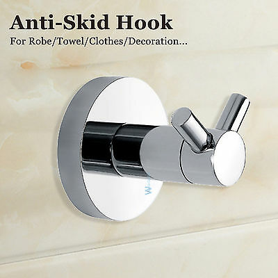 SS304 Double Robe Hand Towel Wall Hook Hanger Holder Round Horns Anti Skid