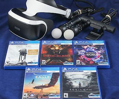 Playstation VR Bundle : Includes Headset, Camera,2 Move Controllers & 5 Games