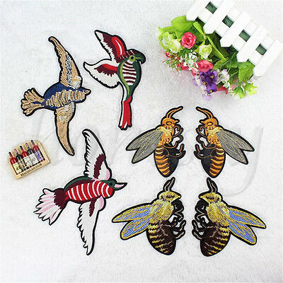 Birds Bee Swallow Beading Sequins DIY Sewing Craft Trim Clothes Fabric Applique