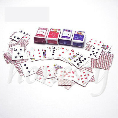 1 Set 1:12 Games Poker Playing Cards Miniature Dollhouse Accessory Decor