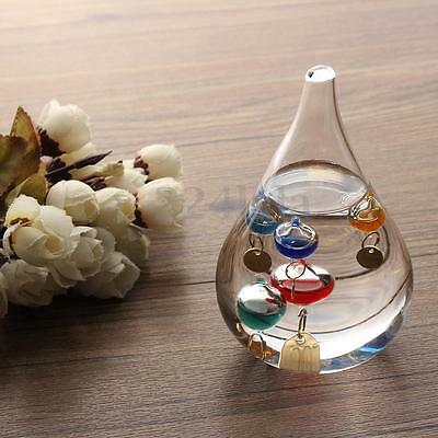 4'' Tear Drop Galileo Glass Liquid Floats Thermometer Home Decor Free Standing