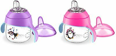 2 Pcs Avent Sippy Cup Leak Proof Anti-Slip Easy Grip For Toddler Pink & Purple