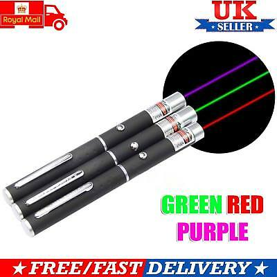 Laser Pointer Pen 3 Pieces Green + Blue + Red Light Beam High Power Light UK