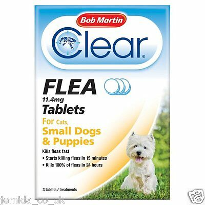 Bob Martin Clear Flea Tablets for Cats,Small Dogs and Puppies 3 Tablet 2019 EX