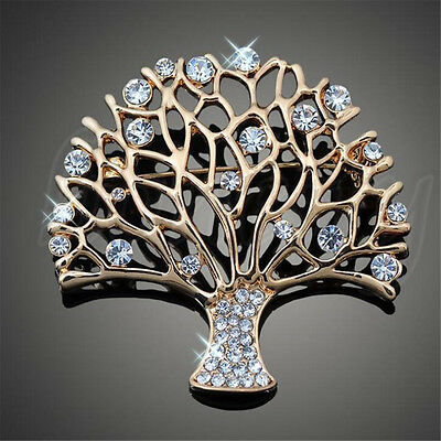Fashion Jewelry Tree of Life Brooch Pin Party Wear Crystal Tropical Brooch Pin