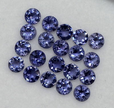 AAA Quality 20 Pc Natural Iolite 5 x 5 mm Round Cut Cabochon Loose Gemstone