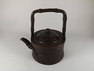 Vtg. Chinese Yixing Dark Clay Pottery Teapot Signed Base & Lid Bamboo Round