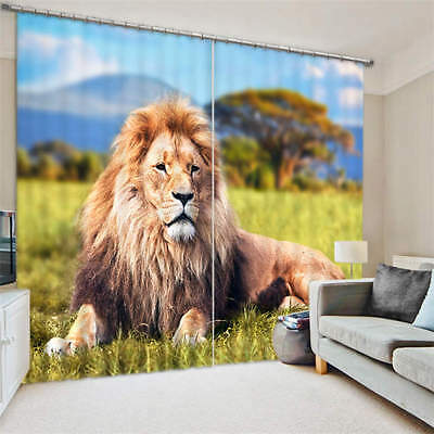 Lion On Grass Wild King 3D Blockout Photo Printing Curtains Draps Fabric Window