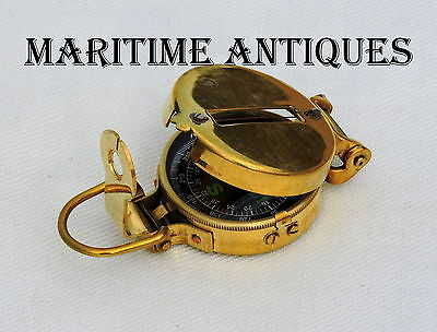 Brass Military Compass Vintage Collectible & Nautical Decor Maritime Antiques