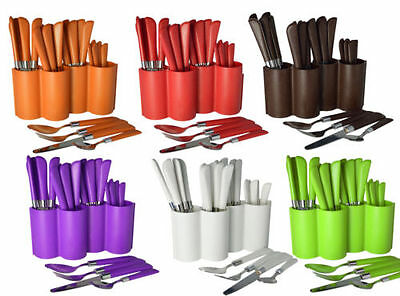 24Pc Leather Effect Plastic Handle Cutlery Set Tableware Stainless Steel