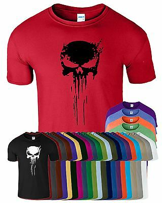 Punisher Skull T-Shirt Frank Castle Skull Marvel Agent Splatter Mens MMA Top Tee