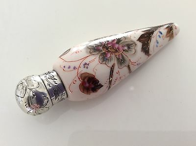 Beautiful antique Charles May silver porcelain teardrop perfume/scent bottle1887