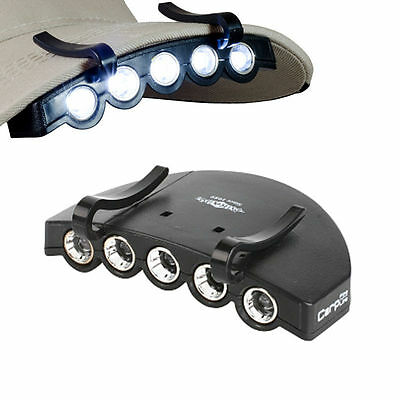 5-LED CAPLIGHT KOPFLAMPE HEADLAMP MÜTZENSCHIRM LAMPE inkl. BATTERIEN CAPLAMP BF