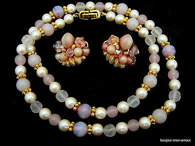 USA/80er TRAUM Lucite Givre Collier & Cluster Ohrclips Ohrringe,Necklace Collier