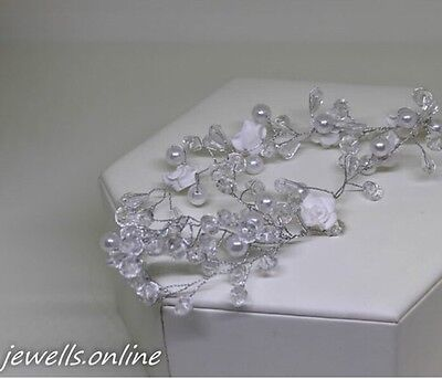 Crystal White Pearl Rose Flower Wire Hair Piece Wedding Accessories