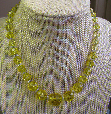 Czech Vintage Art Deco Sunny Yellow Faceted Graduated Glass Bead Necklace Chain