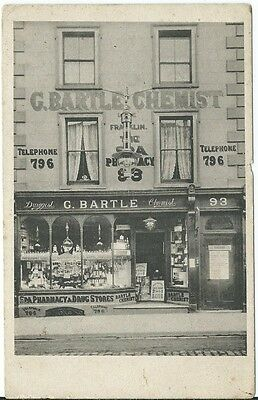 Unidentified Unknown G Bartle Druggist Chemist Frankin Spa Shop Front @93 PPC