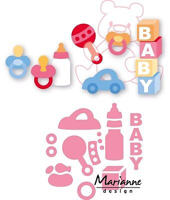 Marianne Design Collectables Die Cut Emboss Elines Baby Essentials Col1421