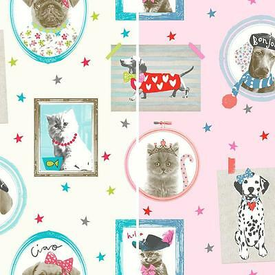 Hall Of Fame Picture Frame Pattern Animal Cat Dog Glitter Wallpaper 2 Colours