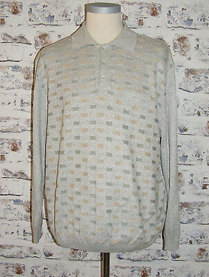 "Size XXL 50"" vintage 80s collared mod/casual jumper square pattern grey (HB70)"