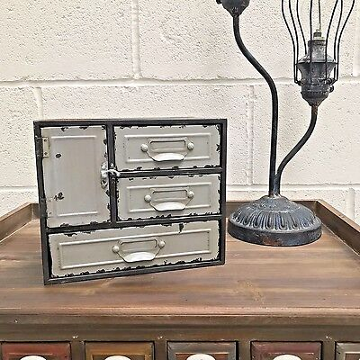 Small Drawers Cabinet Industrial Vintage Warehouse Style Storage Unit