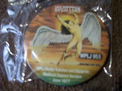 1977 Led Zeppelin Orig Concert Pin Issueby Wplj 95.5 (Nyc) Madison Sq Garden Ny