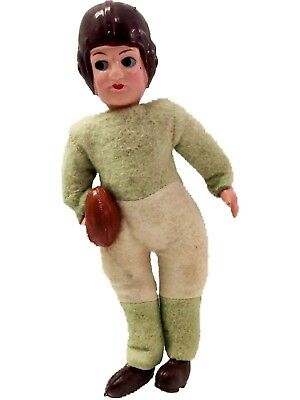 Vintage 1930's Celluloid Football Player Doll Pre-WWII Japan Green & White