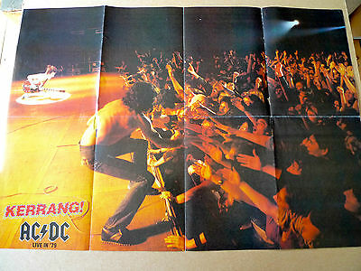"""AC/DC Kerrang Vintage Fold Out 16"""" x 23"""" Two Sided Poster & Promo Photo Job Lot"""