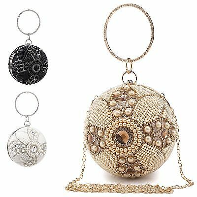 Ladies Diamante Pearl Ball Clutch Bag Glittery Evening Party Handbag Purse M1689