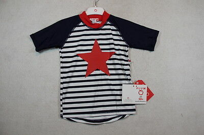 Baby Boy Size 3,4,5,6,7 Plum Summer Navy Short Sleeve Rashie With Graphics  NWT