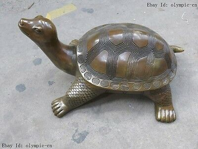 """A 11"""" China brass copper Feng Shui carved beautifully tortoise Sculpture Statue"""