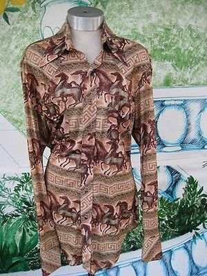 Vintage Mens  Long Sleeved Cowboy Style disco shirt Size 16 1/2