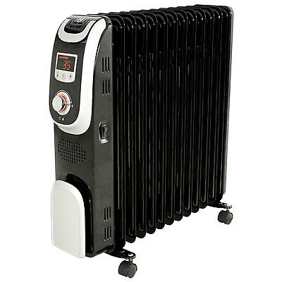 Electric Oil Filled Radiator 13 Fin Black WIth Adjustable Thermostat Home Office