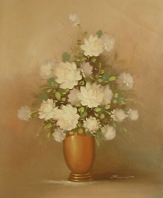 White roses in vase 24x20 OIL PAINTING on flat canvas signed JOHNSON