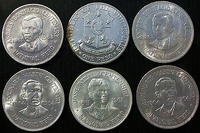 "Lot of 6 Philippines Silver Dollars Peso Coins -  ""Morgan Dollar Size"" 90%"