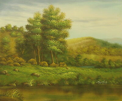 Summer landscape 24x20 OIL PAINTING on flat canvas signed JERRY HARDY