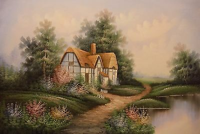 Cottage landscape with path 36x24 OIL PAINTING on flat canvas signed HARGREAVES