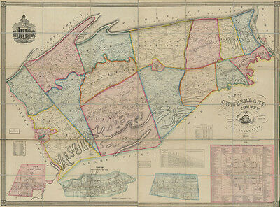 1858 Map of Cumberland County PA from actual surveys Carlisle Shippensburg