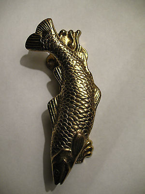 Fish Brass Door Knocker England Vintage Solid Shell Hinged Koi