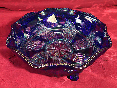 Fenton Iridescent Cobalt Blue Carnival Glass Three Footed Dish -EUC with sticker
