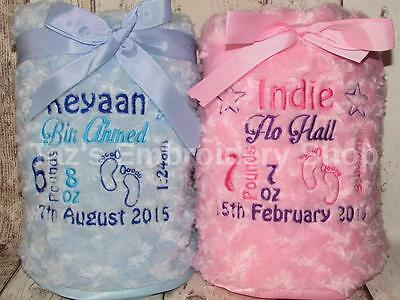 Personalised Luxury Baby Blanket Boy/girl Gift Soft Fluffy Embroidered Birth