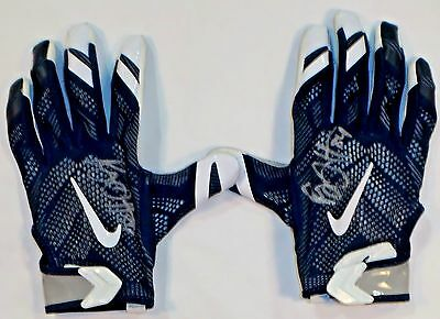 Ryan Griffin Houston Texans Autographed 2016 Game Worn Nike Gloves Blue/Grey 1