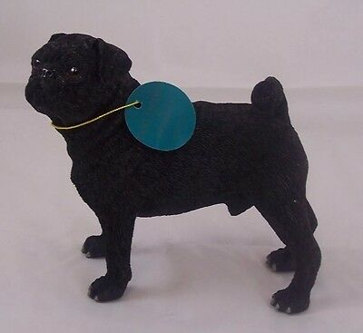 Pug figure Black ornament Dog collectable gift present Figurine