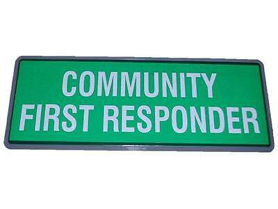 COMMUNITY FIRST RESPONDER Reflective Badge SMALL Inc Hook & Loop Paramedic Medic