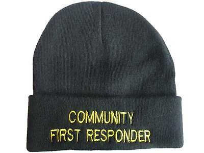 COMMUNITY FIRST RESPONDER Beanie Woolly Hat (Black) for Ambulance Paramedic